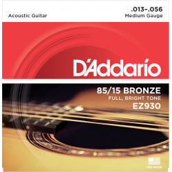 D'Addario EZ930 85/15 Bronze Acoustic Guitar Strings, Medium, 13-56
