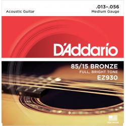 D'Addario EZ930 85/15 Bronze Acoustic Guitar Strings, Medium, 13-56