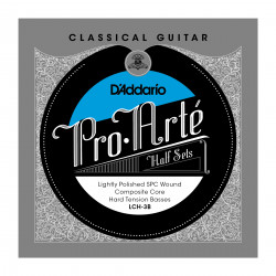 D'Addario LCH-3B Pro-Arte Lightly Polished Silver Plated Copper on Composite Core Classical Guitar Half Set, Hard Tension