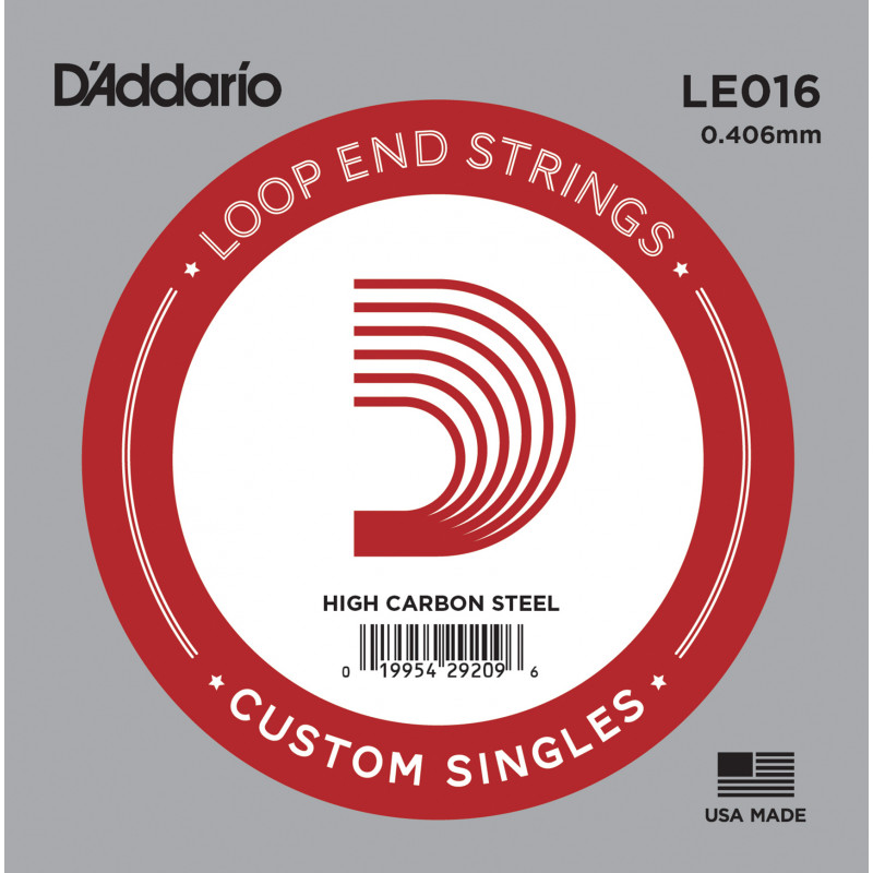 D'Addario LE016 Plain Steel Loop End Single String, .016