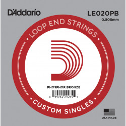 D'Addario LE020PB Phosphor Bronze Loop End Single String, .020
