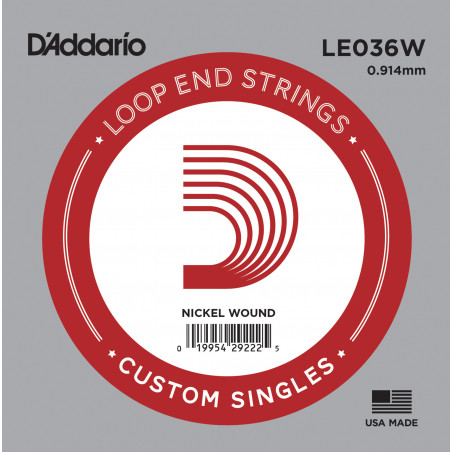 D'Addario LE036W Nickel Wound Loop End Single String, .036