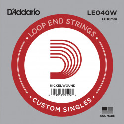 D'Addario LE040W Nickel Wound Loop End Single String, .040