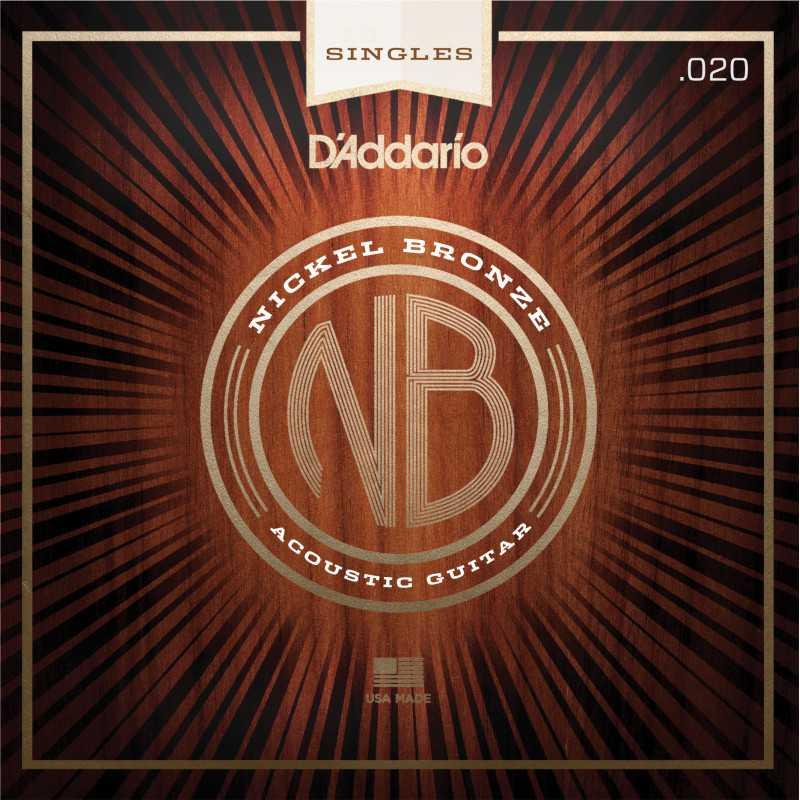 D'Addario NB020 Nickel Bronze Wound Acoustic Guitar Single String, .020