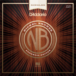 D'Addario NB021 Nickel Bronze Wound Acoustic Guitar Single String, .021