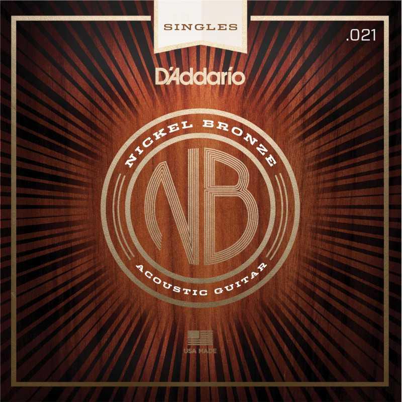 D'Addario NB021 Nickel Bronze Wound Acoustic Guitar Single String, .021
