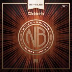 D'Addario NB026 Nickel Bronze Wound Acoustic Guitar Single String, .026