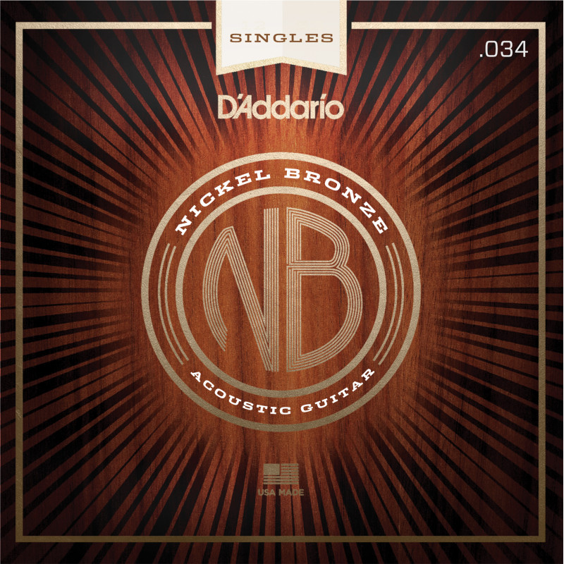 D'Addario NB034 Nickel Bronze Wound Acoustic Guitar Single String, .034