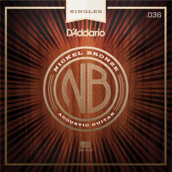 D'Addario NB036 Nickel Bronze Wound Acoustic Guitar Single String, .036