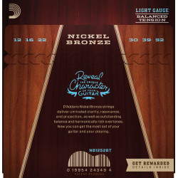 D'Addario NB1252BT Nickel Bronze Acoustic Guitar Strings, Balanced Tension Light, 12-52