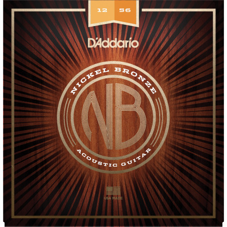 D'Addario NB1253 Nickel Bronze Acoustic Guitar Strings, Light Top / Med Bottom, 12-56