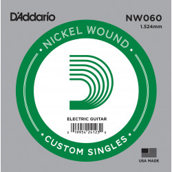 D'Addario NW060 Nickel Wound Electric Guitar Single String, .060