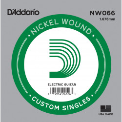 D'Addario NW066 Nickel Wound Electric Guitar Single String, .066