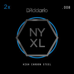 D'Addario NYXL 2-Pack Plain Steel Guitar Strings, .008