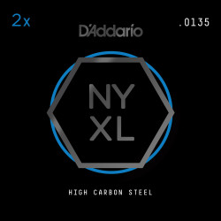 D'Addario NYXL 2-Pack Plain Steel Guitar Strings, .0135