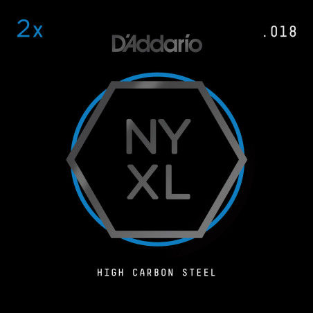 D'Addario NYXL 2-Pack Plain Steel Guitar Strings, .018