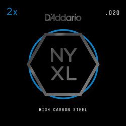 D'Addario NYXL 2-Pack Plain Steel Guitar Strings, .020