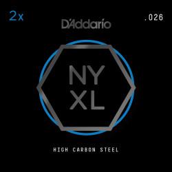 D'Addario NYXL 2-Pack Plain Steel Guitar Strings, .026