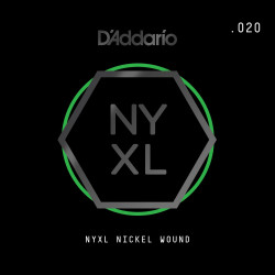 D'Addario NYXL Nickel Wound Electric Guitar Single String, .020