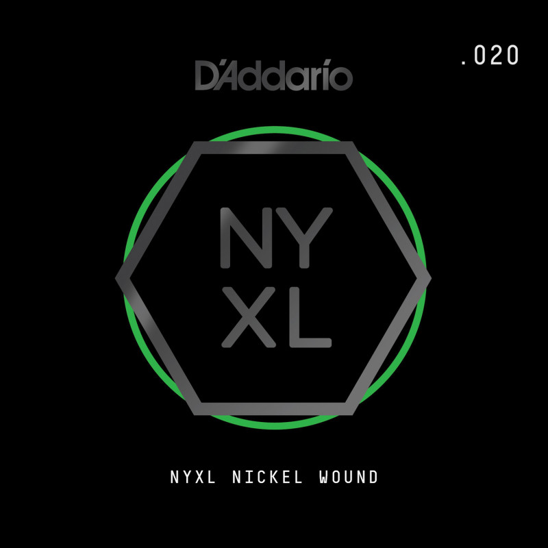 D'Addario NYXL Nickel Wound Electric Guitar Single String, .020
