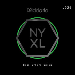 D'Addario NYXL Nickel Wound Electric Guitar Single String, .034