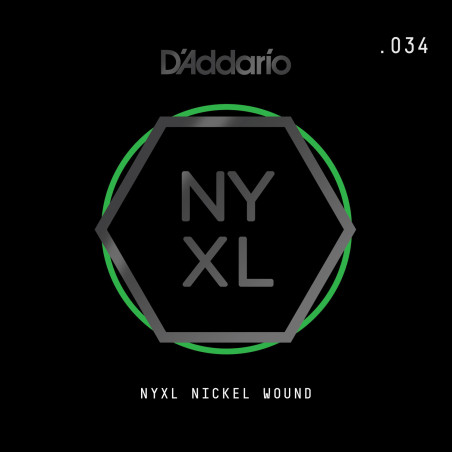 D'Addario NYXL Nickel Wound Electric Guitar Single String, .034