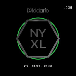 D'Addario NYXL Nickel Wound Electric Guitar Single String, .036
