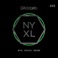 D'Addario NYXL Nickel Wound Electric Guitar Single String, .040