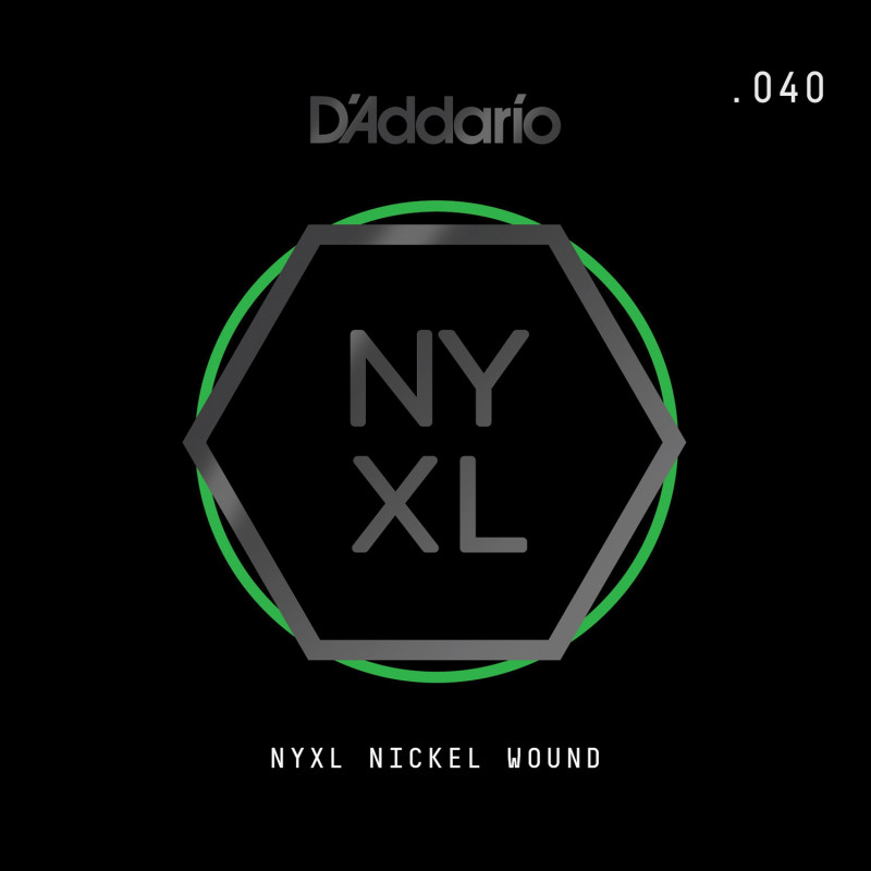 D'Addario NYXL Nickel Wound Electric Guitar Single String, .040