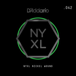 D'Addario NYXL Nickel Wound Electric Guitar Single String, .042