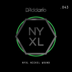 D'Addario NYXL Nickel Wound Electric Guitar Single String, .043