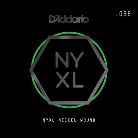 D'Addario NYXL Nickel Wound Electric Guitar Single String, .066