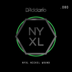D'Addario NYXL Nickel Wound Electric Guitar Single String, .080