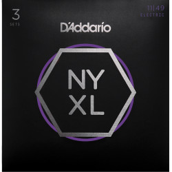 D'Addario NYXL1149-3P Nickel Wound Electric Guitar Strings, Medium, 11-49, 3 Sets