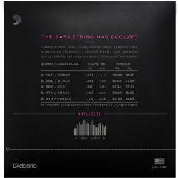 D'Addario NYXL45130 Nickel Wound Bass Guitar Strings, 5-string Regular Light, 45-130, Long Scale