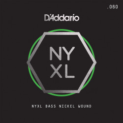 D'Addario NYXLB060, NYXL Nickel Wound Bass Guitar Single String, Long Scale, .060