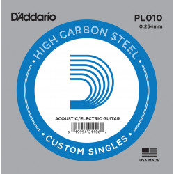 D'Addario PL010 Plain Steel Guitar Single String, .010