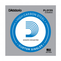 D'Addario PL0135 Plain Steel Guitar Single String, .0135
