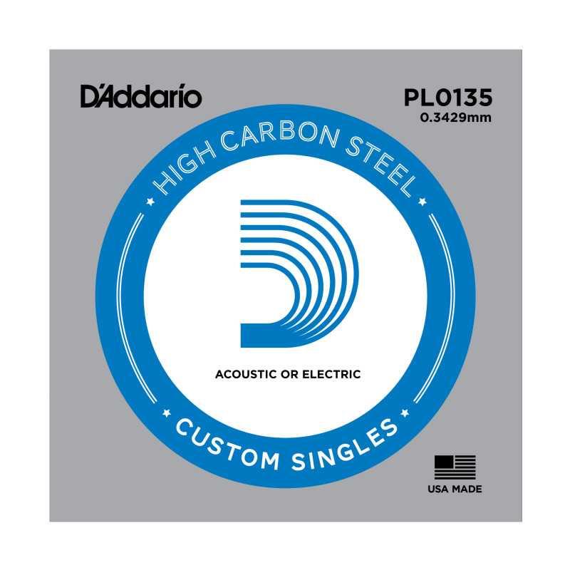 D'Addario PL0135 Plain Steel Guitar Single String, .0135