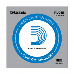D'Addario PL015 Plain Steel Guitar Single String, .015