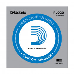 D'Addario PL020 Plain Steel Guitar Single String, .020