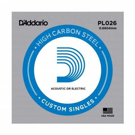 D'Addario PL026 Plain Steel Guitar Single String, .026