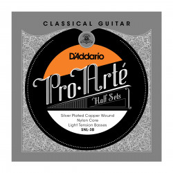 D'Addario SNL-3B Pro-Arte Silver Plated Copper on Nylon Core Classical Guitar Half Set, Light Tension