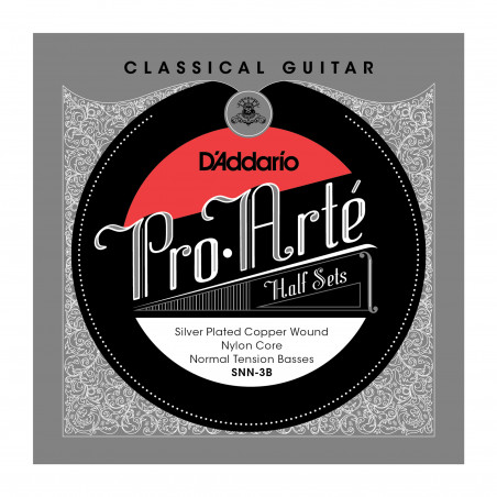 D'Addario SNN-3B Pro-Arte Silver Plated Copper on Nylon Core Classical Guitar Half Set, Normal Tension