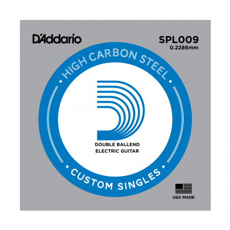 D'Addario SPL009 Plain Steel Guitar Single String, Double Ball End, .009