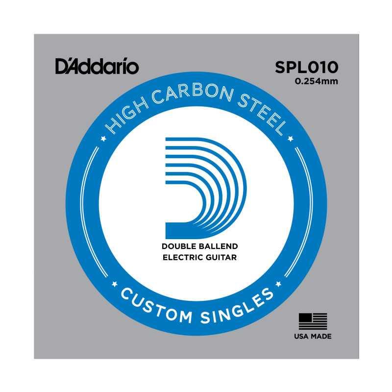 D'Addario SPL010 Plain Steel Guitar Single String, Double Ball End, .010