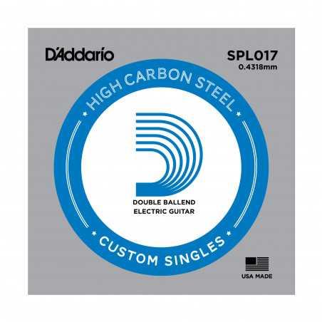 D'Addario SPL017 Plain Steel Guitar Single String, Double Ball End, .017