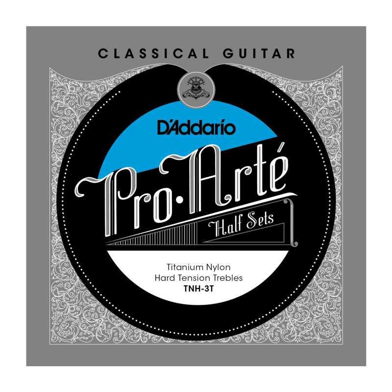 D'Addario TNH-3T Pro-Arte Titanium Nylon Classical Guitar Half Set, Hard Tension