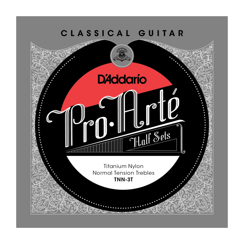 D'Addario TNN-3T Pro-Arte Titanium Nylon Classical Guitar Half Set, Normal Tension
