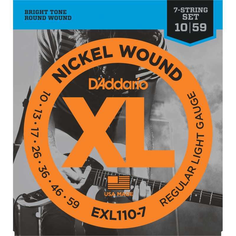 D'Addario EXL110-7 7-String Nickel Wound Electric Guitar Strings, Regular Light, 10-59